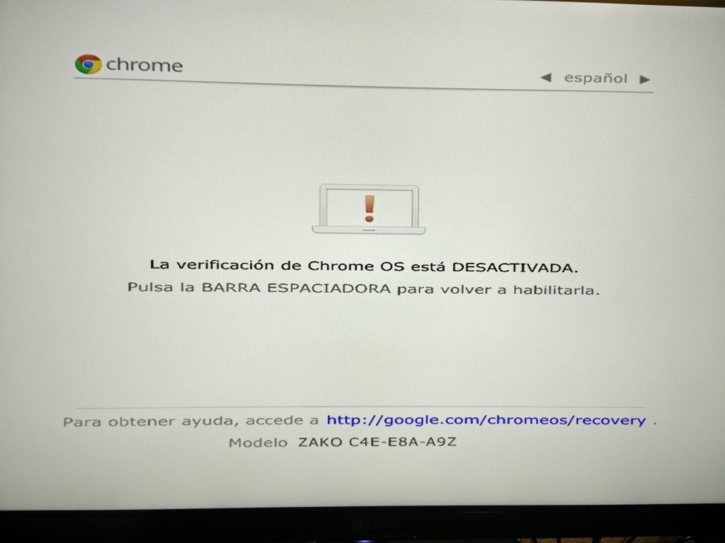 Chromebox, pulsando de nuevo ctrl+d