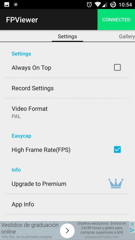 Easycap & UVC Player Android App settings