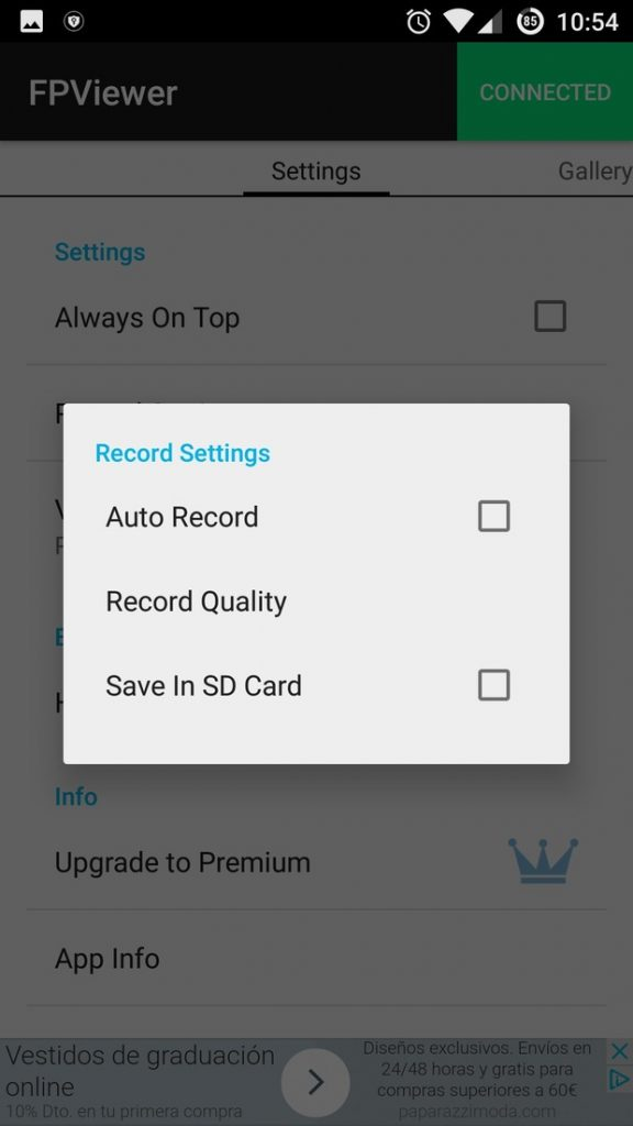 Easycap & UVC Player Android App Record settings 1