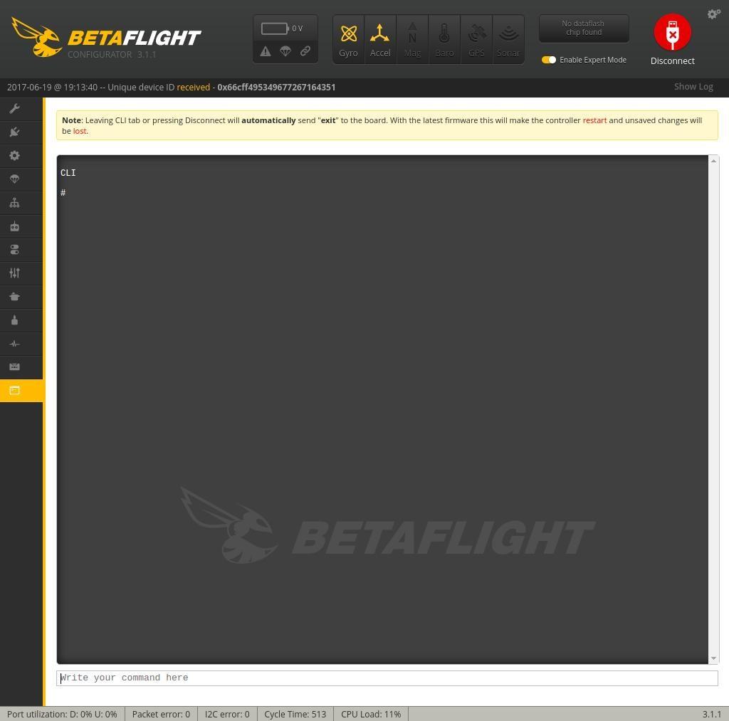 CLI Betaflight Q100