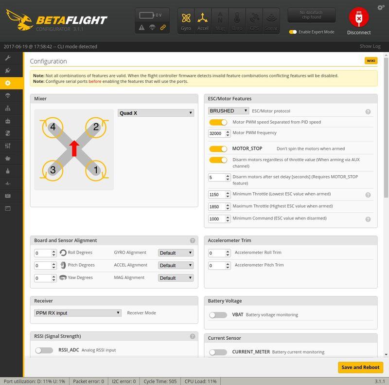 Ajustando Configuration Betaflight Q100