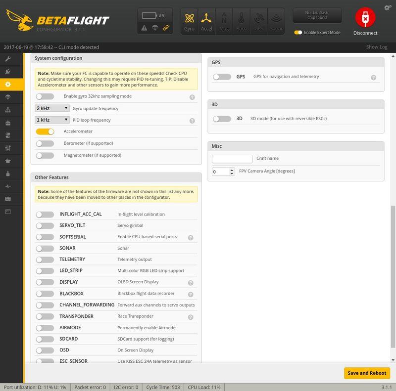 Ajustando Configuration 2 Betaflight Q100