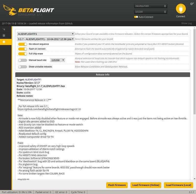 Actualizando firmware Betaflight
