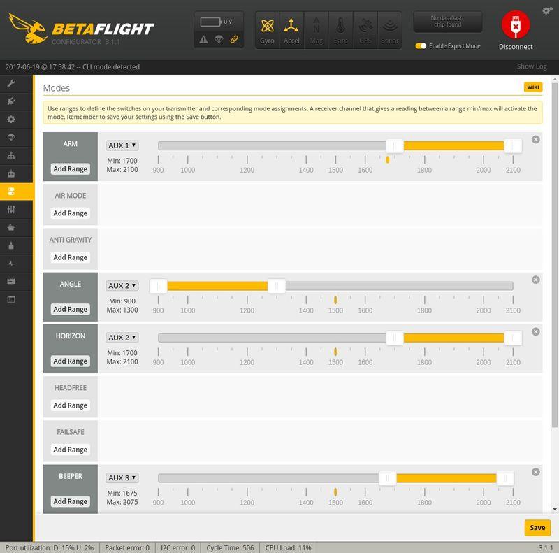 Modes Betaflight Q100