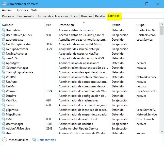Servicios en administrador de tareas (problema pantalla negra)