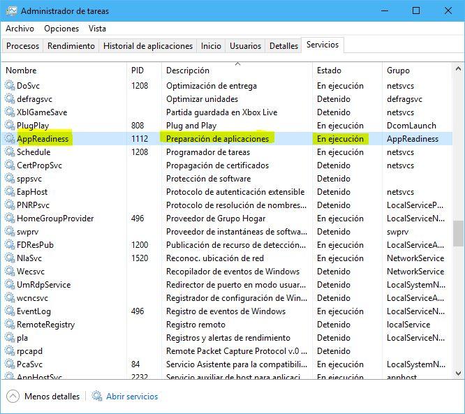 AppReadiness en administrador de tareas (problema pantalla negra)