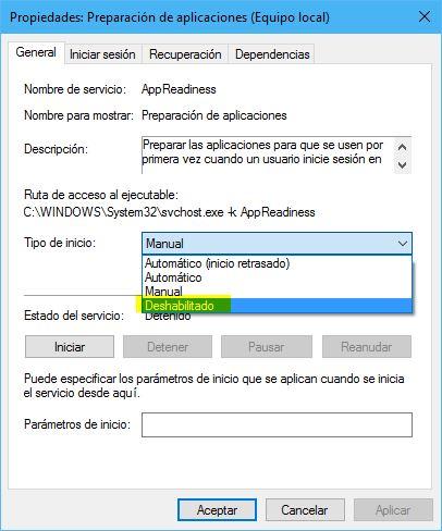 Deshabilitar servicio AppReadiness (problema pantalla negra)